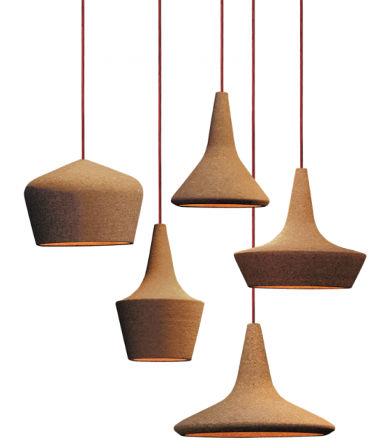 Shaded cork lamps designed by Carlo Trevisani for Seletti