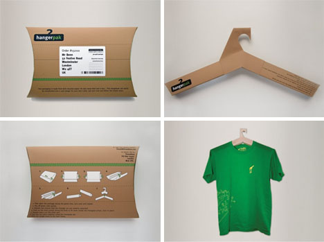 Packaging that turns into a coat hanger