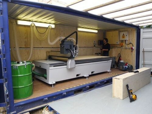 The on-site CNC machine as seen on Grand Designs. IMage courtesy ohttp://www.the-self-build-guide.co.uk/facit-homes.html