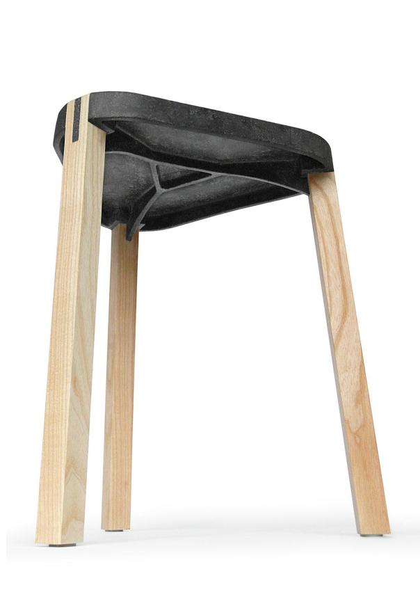 FS Stool with timber legs inserted into mould. Image from FluidSolids.