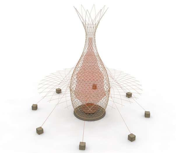 The WarkaWater can be constructed by 4 people without a scaffold. Image: Architecture & Vision.