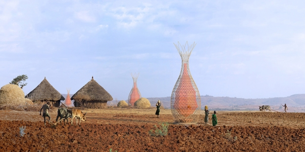 It is hoped the WarkaWater will become a social meeting place. Image: Architecture & Vision.
