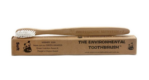 The Environmental Toothbrush is made of bamboo.