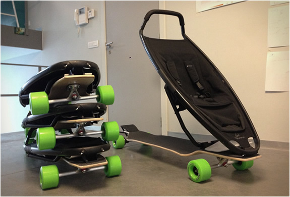 The Longboard Stroller folds down to make it more compact. Image courtesy of Longboard Stroller.