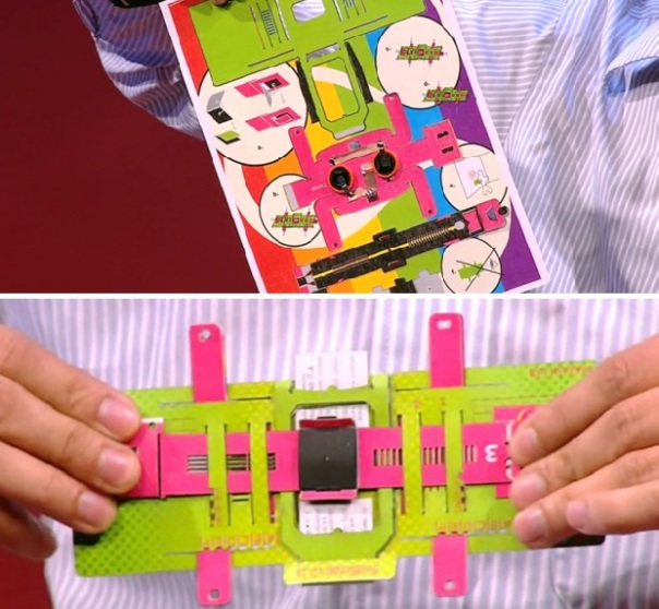 The Foldscope is a flat pack product that it folded like orgami to produce a cost effective microscope. Image courtesy of guydster.com. guydster.com