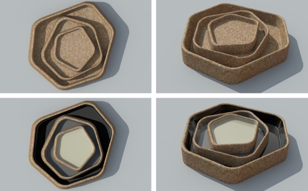 Products such as these bowls, have been trialed using carbon-fibre-reinforced plastic moulds.